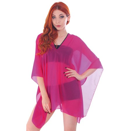 4e3ab526bdd53 Simplicity - Women s Chiffon Sheer Wrap Top Bikini Beach Cover Up ...