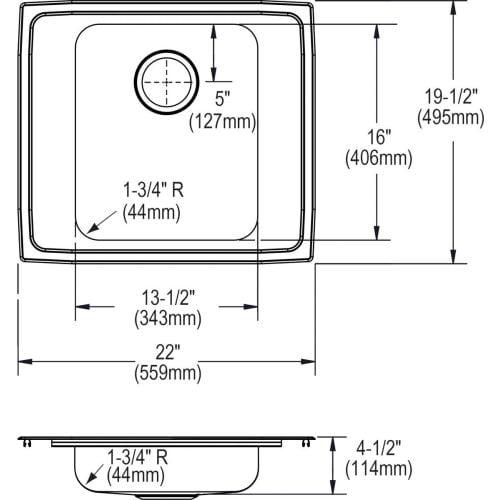 "Elkay DRKAD222045 22"" Single Basin Drop In Stainless Steel Utility Sink"
