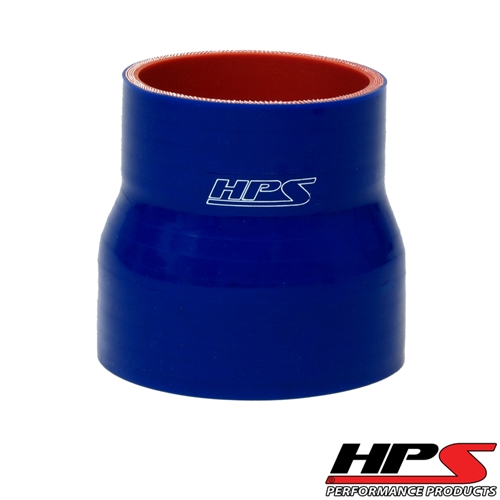 """HPS High Temp 2.5"""" > 3"""" ID x 2.25"""" Long 4-ply Reinforced Silicone Reducer Coupler Hose Blue (63mm > 76mm ID x 57mm Length)"""