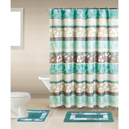 Zen turquoise blue brown 15 piece bathroom accessory set for Aqua bathroom accessories sets