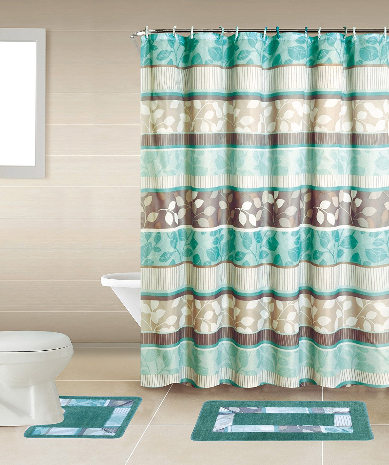 Charmant Zen Turquoise Blue U0026 Brown 15 Piece Bathroom Accessory Set: 2 Bath Mats,