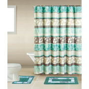 Zen Turquoise Blue Brown 15 Piece Bathroom Accessory Set 2 Bath Mats