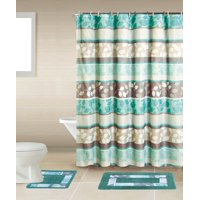Product Image Zen Turquoise Blue Brown 15 Piece Bathroom Accessory Set 2 Bath Mats