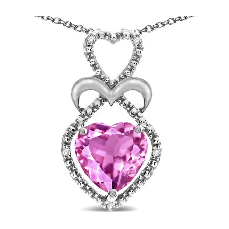 Star K Heart Shape 8mm Created Pink Sapphire Heart Halo Embrace Pendant Necklace