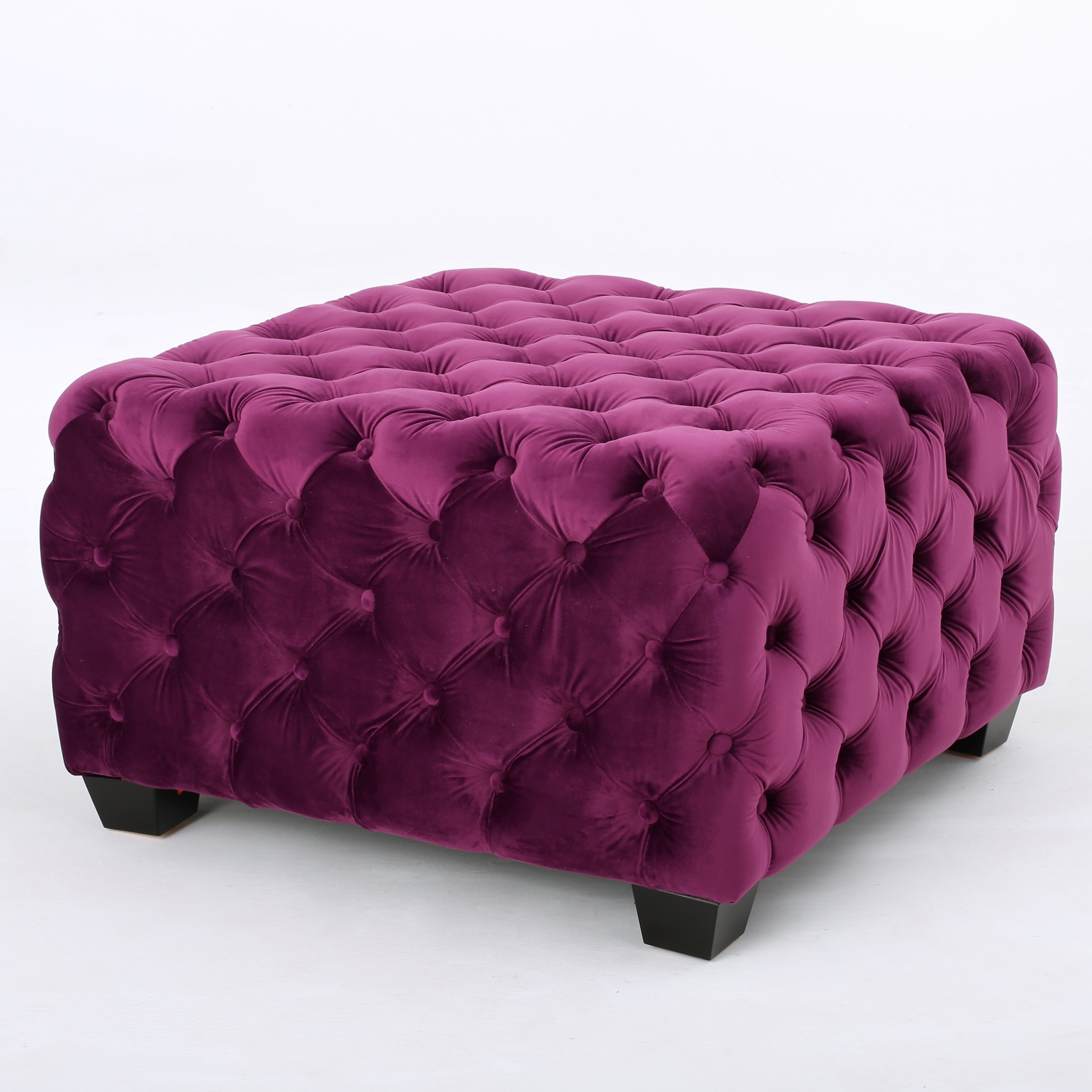 Provence Tufted Velvet Fabric Square Ottoman Bench, Fuchsia
