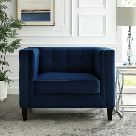 Rin Navy Blue Velvet Club Chair Button Tufted Square