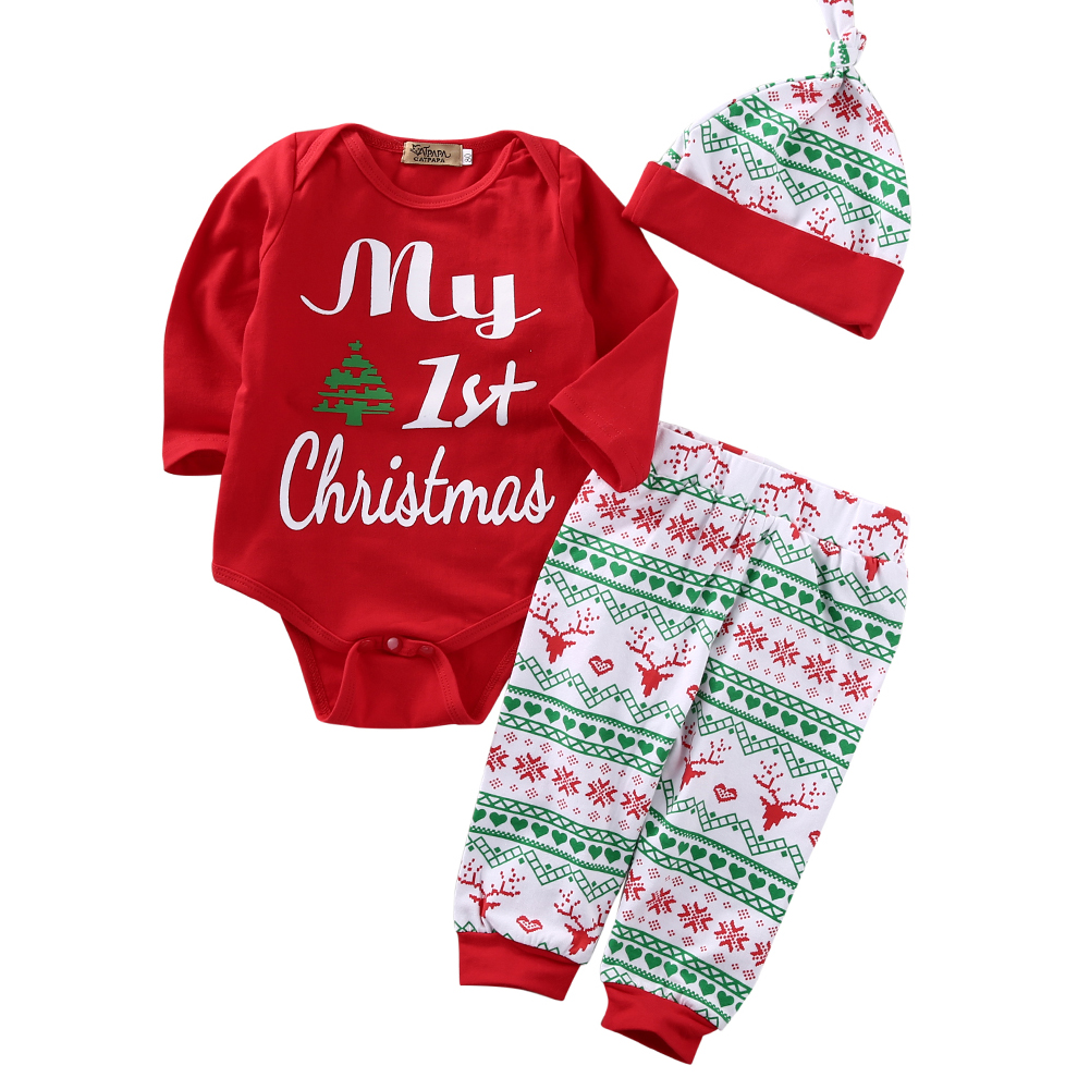 My First New Year Outfit Toddler Baby Boys Girls Pajamas Long Sleeve One-Pieces Jumpsuit Infant Red Romper Bodysuit Clothes