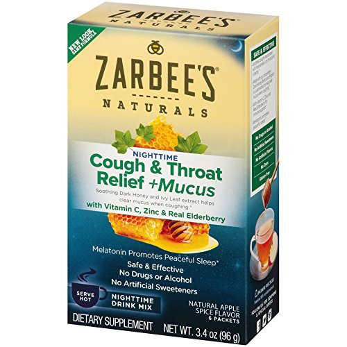 2 Pack ZarBee's Naturals Cough & Throat Relief + Mucus Nighttime Drink Mix Each