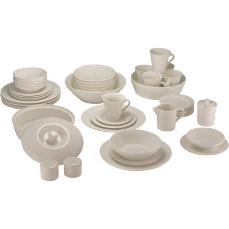 10 Strawberry Street Atlas 45-Piece Ivory Porcelain Dinnerware and Serveware Set (Ivory Porcelain)