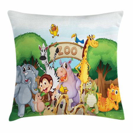 Zoo Throw Pillow Cushion Cover, Zoo and The Animals in Beautiful Nature Welcoming Playful Outdoors Forest Landscape, Decorative Square Accent Pillow Case, 18 X 18 Inches, Multicolor, by Ambesonne