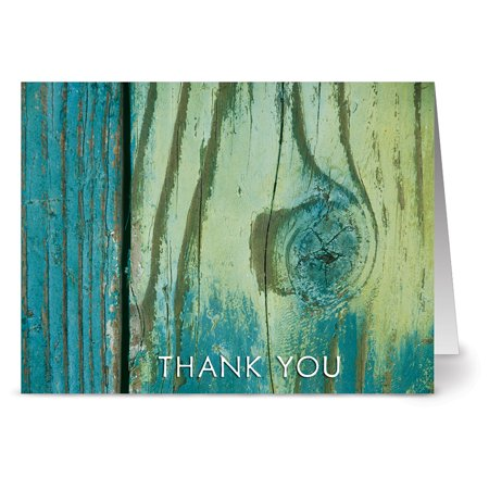 24 Thank You Note Cards - Grateful By The Sea - Blank Cards - Off White Ivory Envelopes Included
