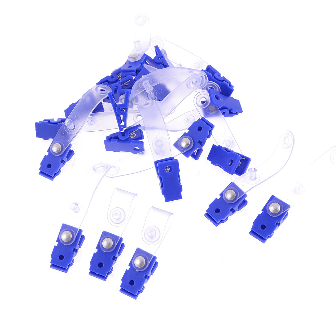 Unique Bargains 20 Pcs Plastic Retractable Badge Clip ID Card Name Tag School Office Bank Students Stationery Clear Blue