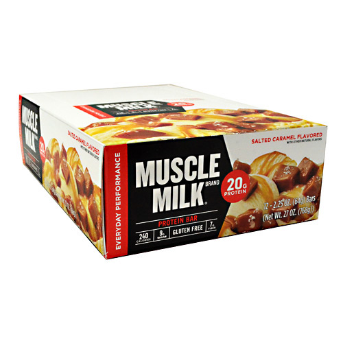 muscle milk protein bar, salted caramel, 20g protein, 12 ct