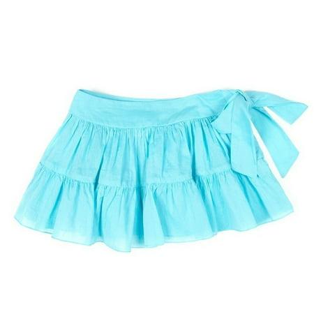 Azul Little Girls Turquoise Solid Color Tie Sash Cotton Ruffle Swim Skirt - Girls Swim Skirt