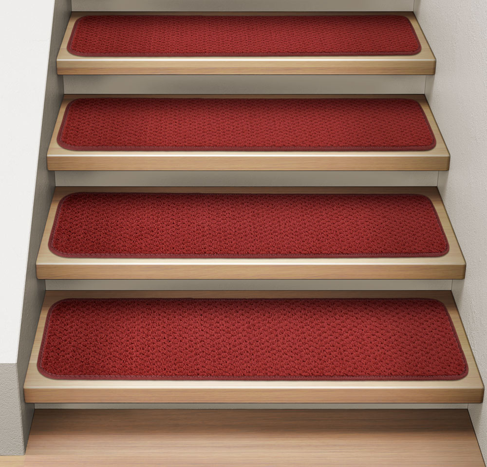 Set of 12 Attachable Indoor Carpet Stair Treads - Brick Red - 8 In. X 23.5 In. - Several Other Sizes to Choose From