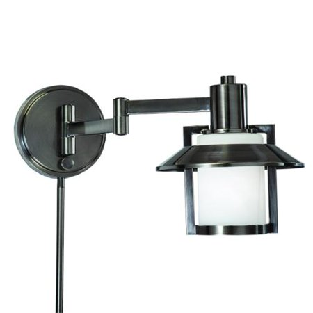 Vintage Plug In Wall Sconces : Aztec Lighting Transitional 1-light Antique Pewter Swing Arm Pin-up Plug-in Wall Lamp - Walmart.com