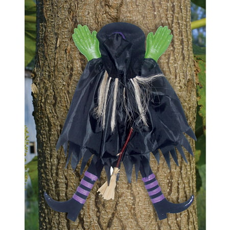 2 tree trunk witch assorted halloween decoration