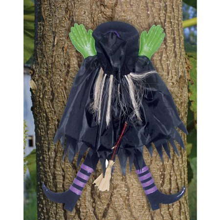 2 tree trunk witch assorted halloween decoration - Halloween Witch Decoration