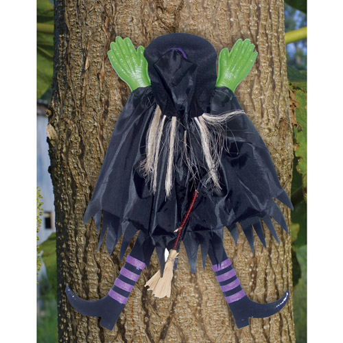 2' Tree Trunk Witch Assorted Halloween Decoration