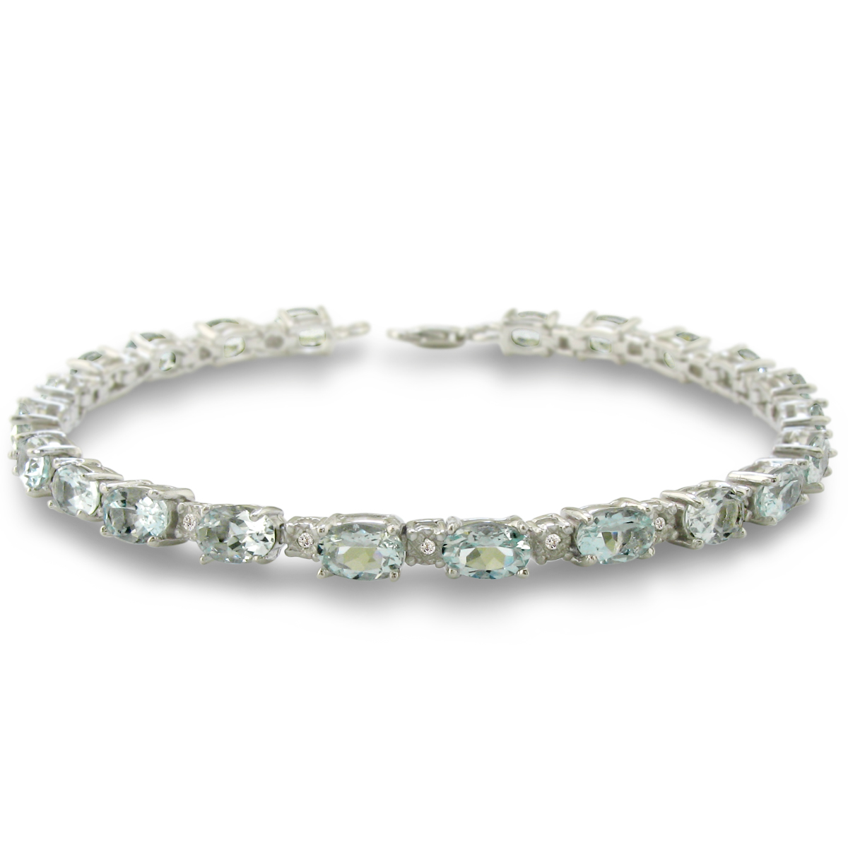 10 Carat Aquamarine and Diamond Bracelet in Sterling Silver 7 inches