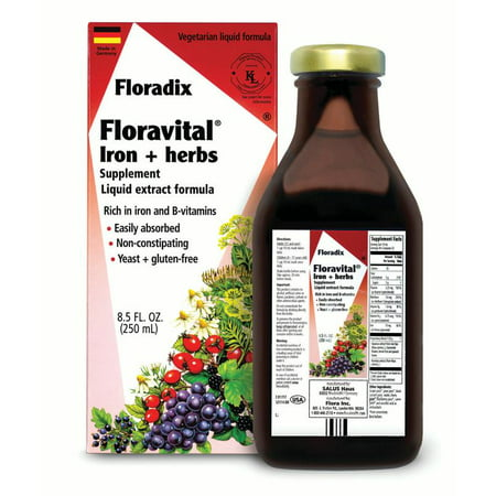- Salus-Haus Floravital Liquid Iron plus Herbs, 8.5 Oz