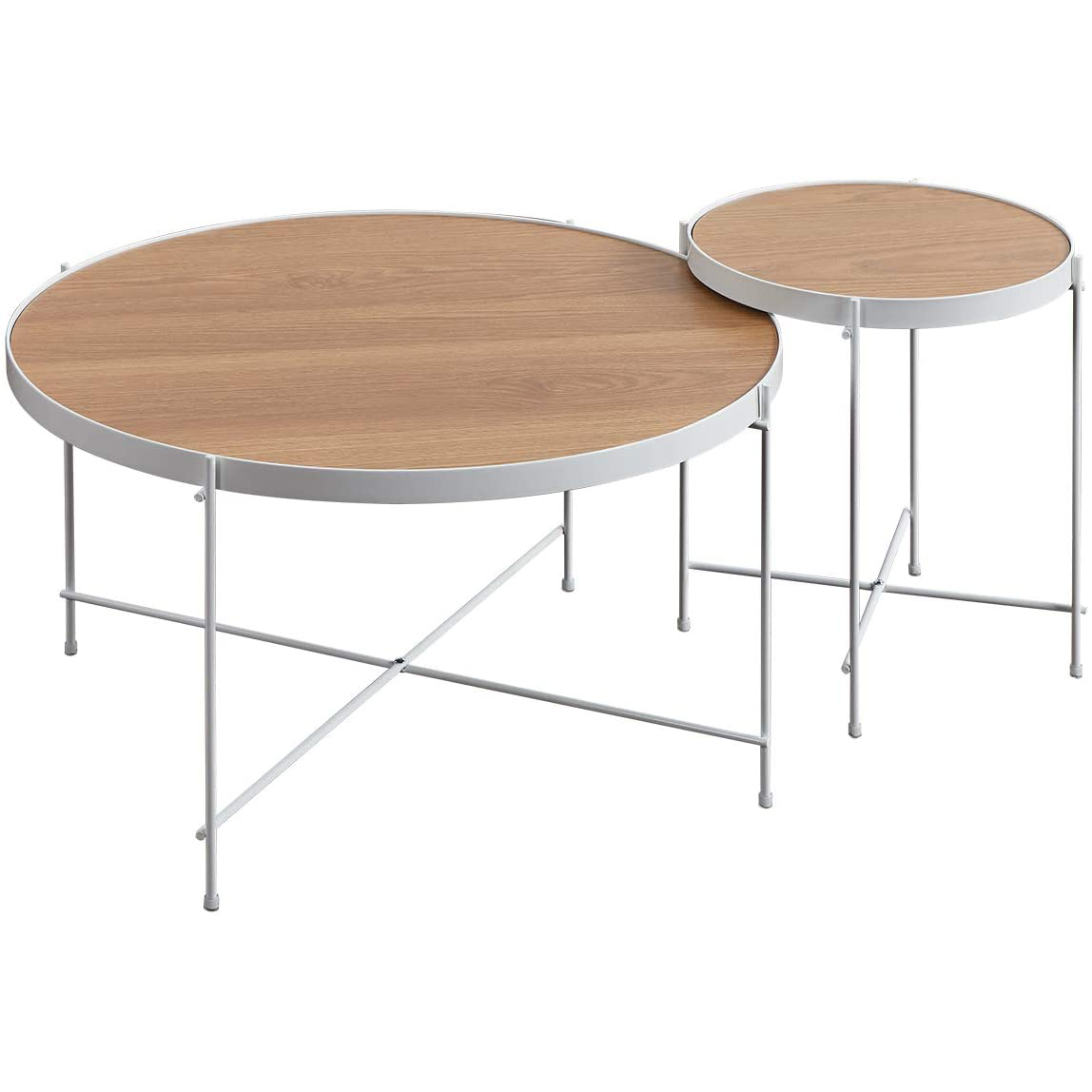 Sekey Home Round Coffee Table Light Black Oak Top Durable Metal White Frame Walmart Com Walmart Com [ 1148 x 1148 Pixel ]
