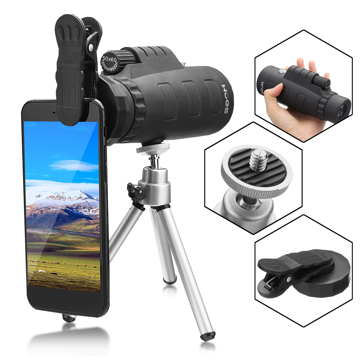 50X Zoom Universal Outdoor Mobile Phone Cellphone Camera Clip-On Monocular Telescope Optical Lens + Tripod + Clip Phone Accessories