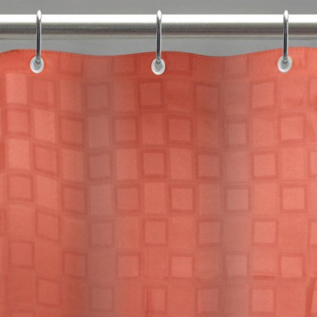 Excell Bowery 70 X 72 Fabric Shower Curtain Liner With Weighted Bottom Hem Bisque Orange