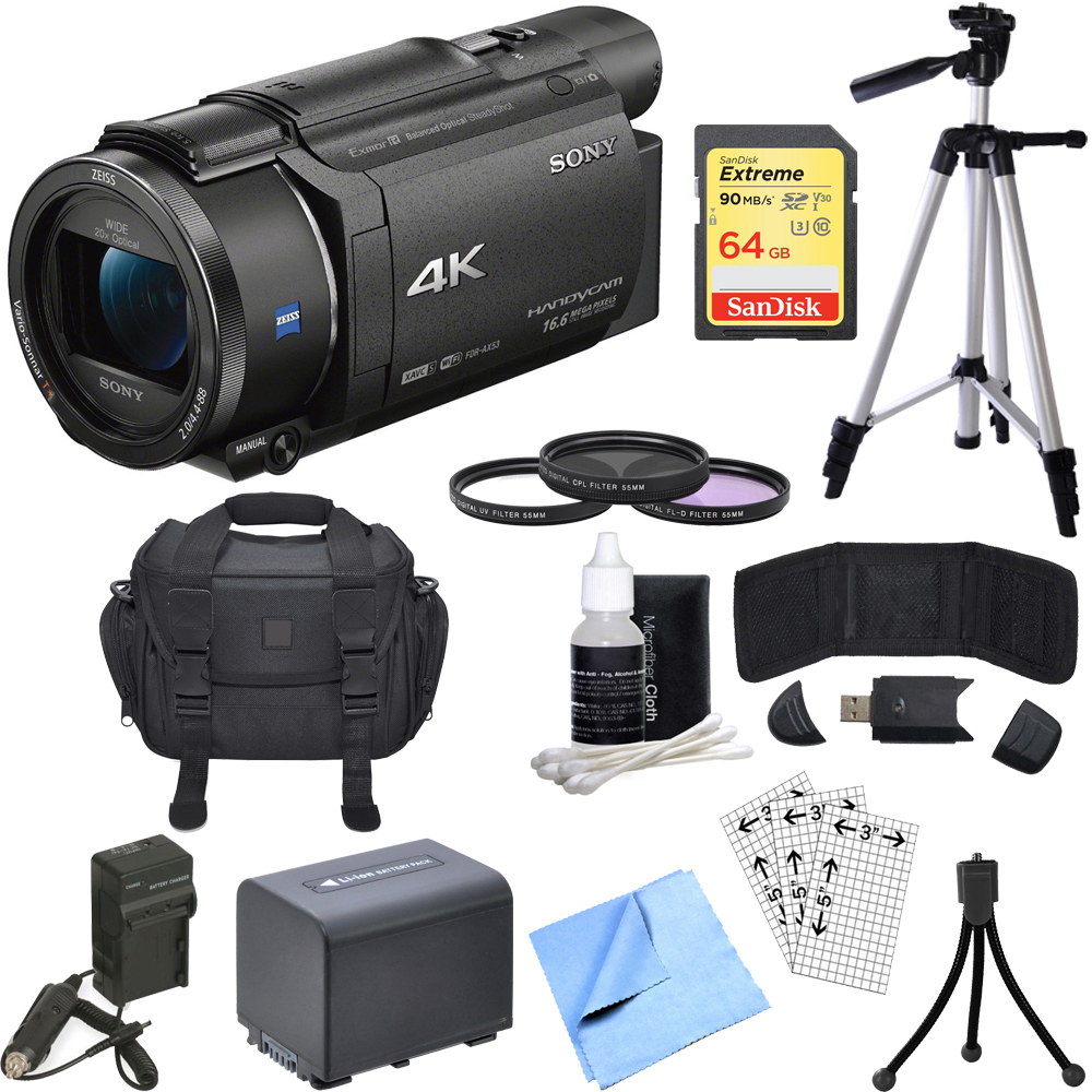Sony FDR-AX53/B 4K Handycam Camcorder Bundle includes Han...