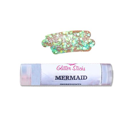Halloween Face Paint Easy Designs (Creative Faces  Chunky Glitter Stick - Mermaid , Easy To Apply, Cosmetic Grade Polyester Glitter (3.5 gm/4.5 ml), Great to Sparkle up your Face, Body, Hair and Face Paint)