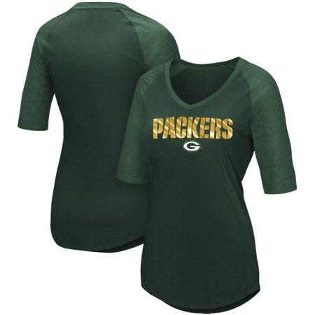 Green Bay Packers Majestic Women s Gameday Glam Raglan Half-Sleeve T-Shirt  - Green - Walmart.com 128bfb687