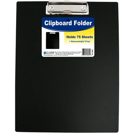 "Vinyl Clipboard Folder, 12.75"" x 9"", Black"