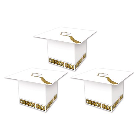 Graduation Cap Card Box (Beistle Company 54124-W Grad Cap Favor Boxes - Pack of)