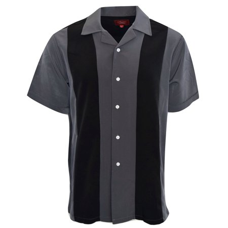 Men's Shirt Two Tone Short Sleeve Button Down Casual Retro Bowling Shirts (2 Button Down Shirt)
