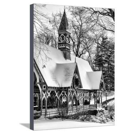Wood House Snowy Winter in Central Park New York City Stretched Canvas Print Wall Art By Philippe Hugonnard - Halloween City Winter Park