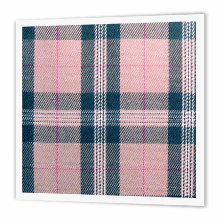 3dRose Pink tartan pattern - girly preppy plaid checked peach black - fashionable stylish checkered checks, Iron On Heat Transfer, 8 by 8-inch, For White