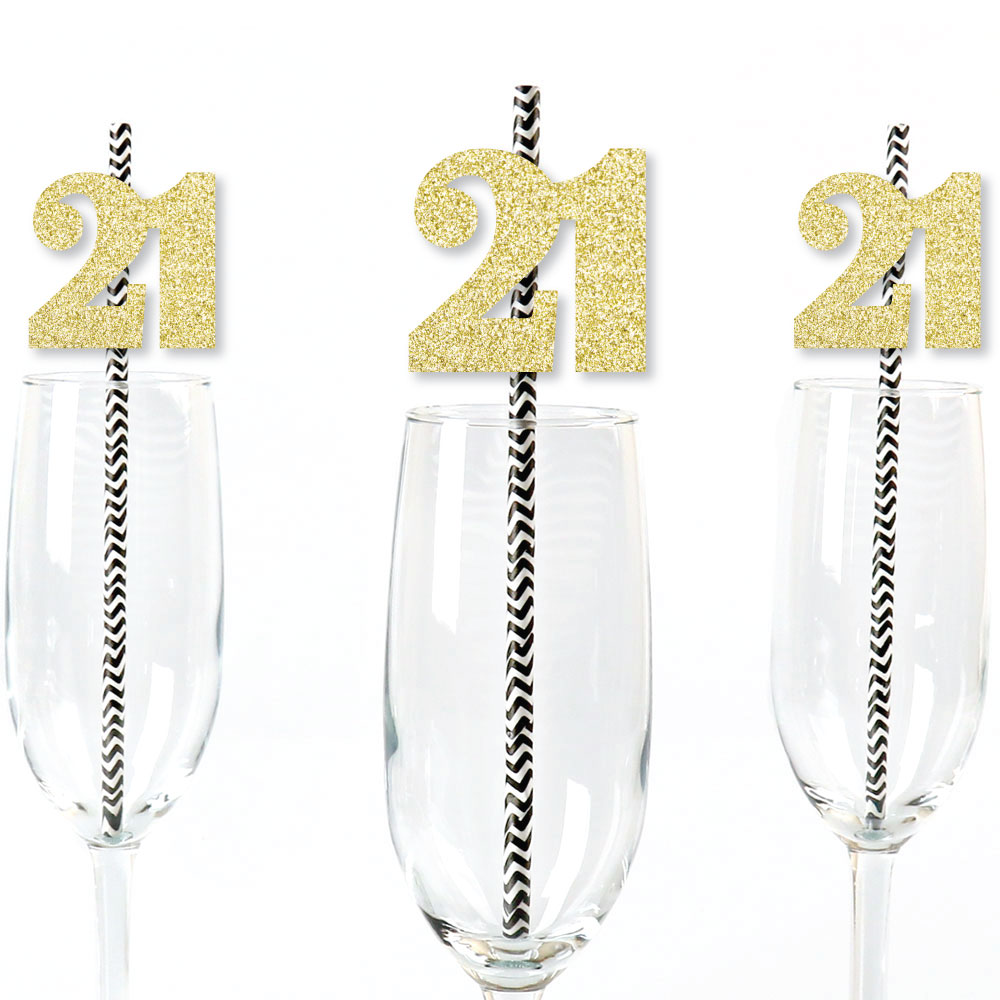 Gold Glitter 21 Party Straws - No-Mess Real Gold Glitter Cut-Out Numbers & Decorative 21st Birthday Paper Straws - 24 Ct
