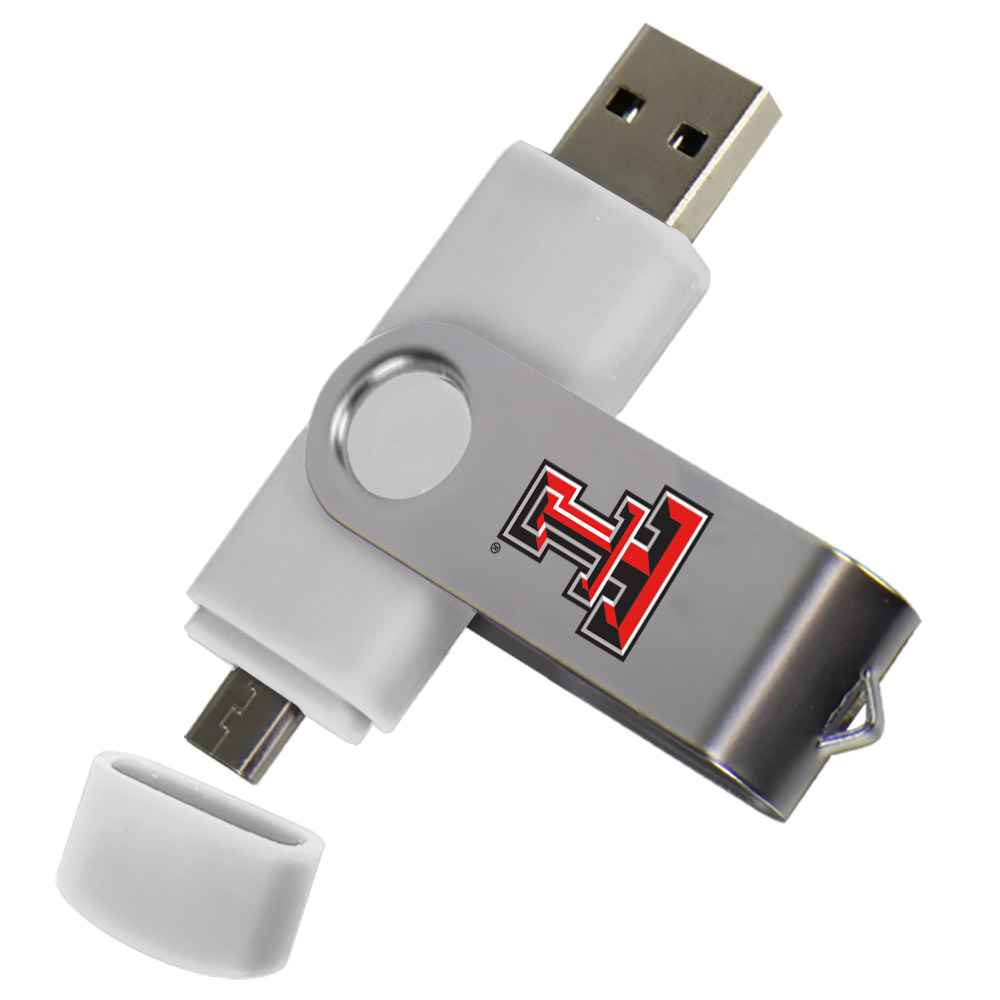 Texas Tech Red Raiders Dual Pro Micro to USB Drive 16GB White