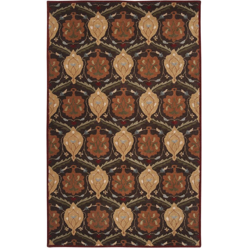 Surya Hand-tufted Usak Dark Olive Brown Wool Rug (7'6 x 9'6)
