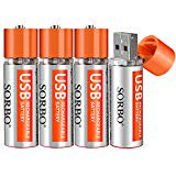 Aa Lithium Batteries USB Aa Batteries Rechargeable Over 1000 Times No Need Charger Portable 4 Pack for Mouses Aa Lithium Batteries USB Aa Batteries Rechargeable Over 1000 Times  No Need Charger Portable 4 Pack for Mouses  Controllers  Toys and Offices. B072LT8YPY