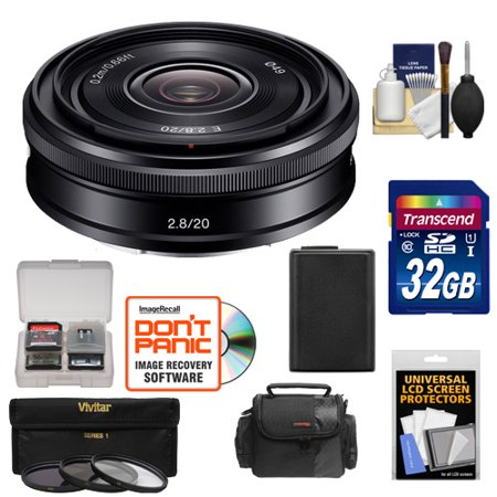 Sony Alpha E-Mount 20mm f/2.8 Wide-Angle Pancake Lens with 32GB Card + NP-FW50 Battery + Case + 3 Filters Kit for A7, A7R, A7S Mark II, A5100, A6000,