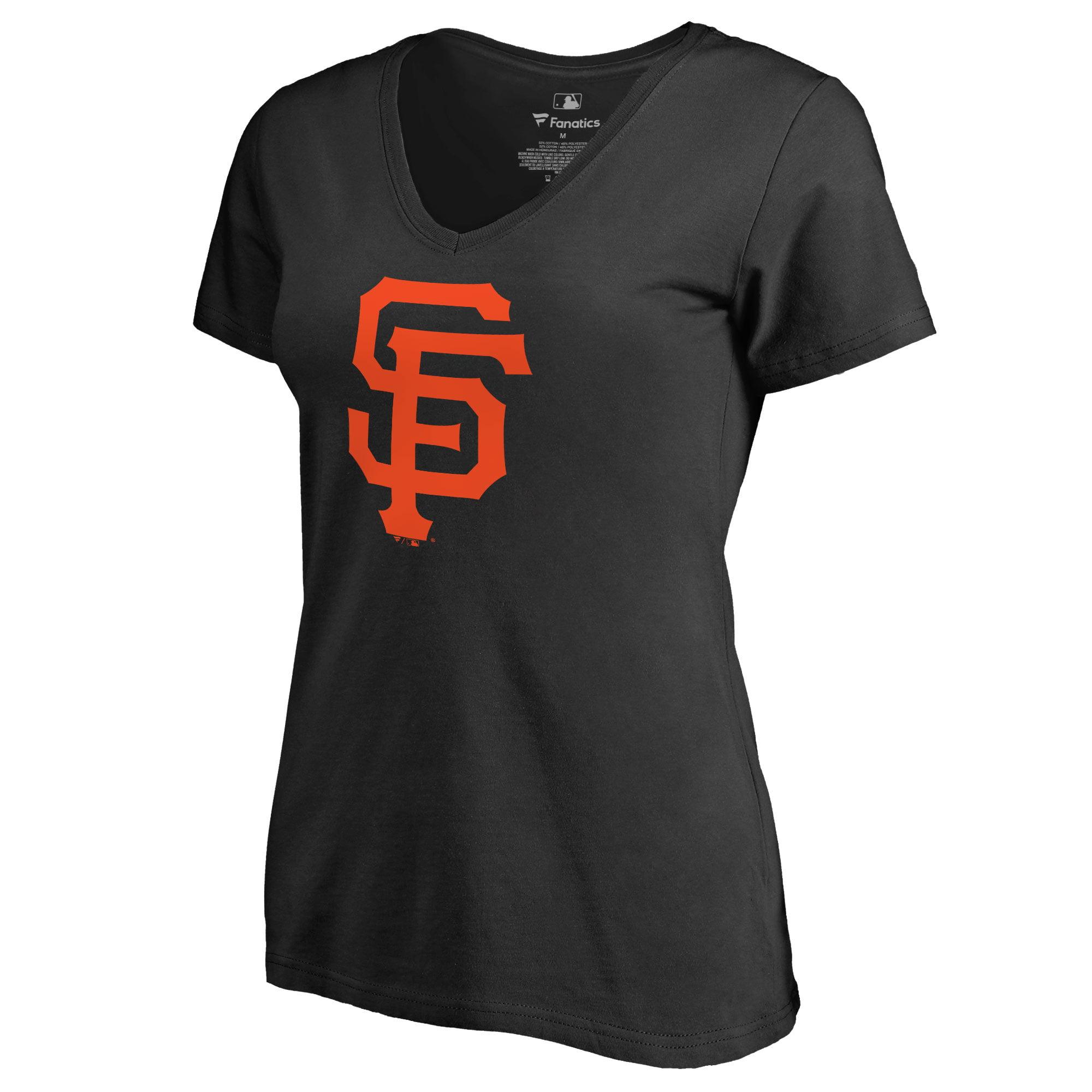 San Francisco Giants Women's Team Color Primary Logo V-Neck T-Shirt - Black