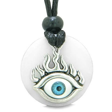 Quartz Medallion (Cool Evil Eye Protection Flames Amulet White Quartz Medallion Magic Powers Adjustable Necklace)