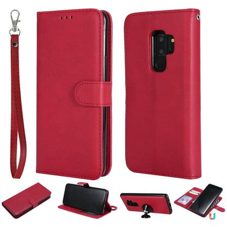 Detachable Front Pocket (Galaxy S9 Case Wallet, S9 Case, Allytech Premium Leather Flip Case Cover & Card Slots Pocket, Wrist Design Detachable Slim Case for Samsung Galaxy S9 (Red) )