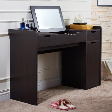 Espresso Finish Vanity - Furniture of America Espresso Contemporary Bedroom Vanity