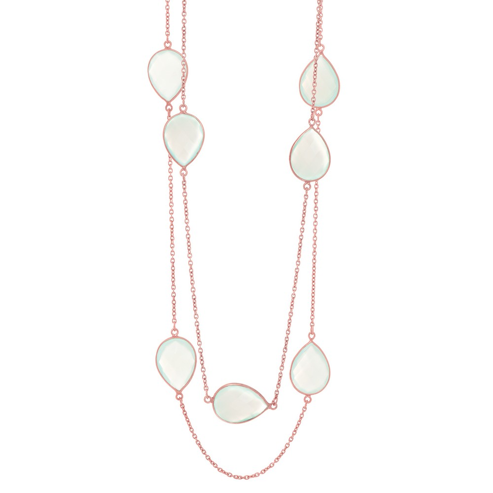 Sterling Silver Rose Finish Shiny Cable Chain Fancy Necklace With 7-acqua Chalcedony Collection by