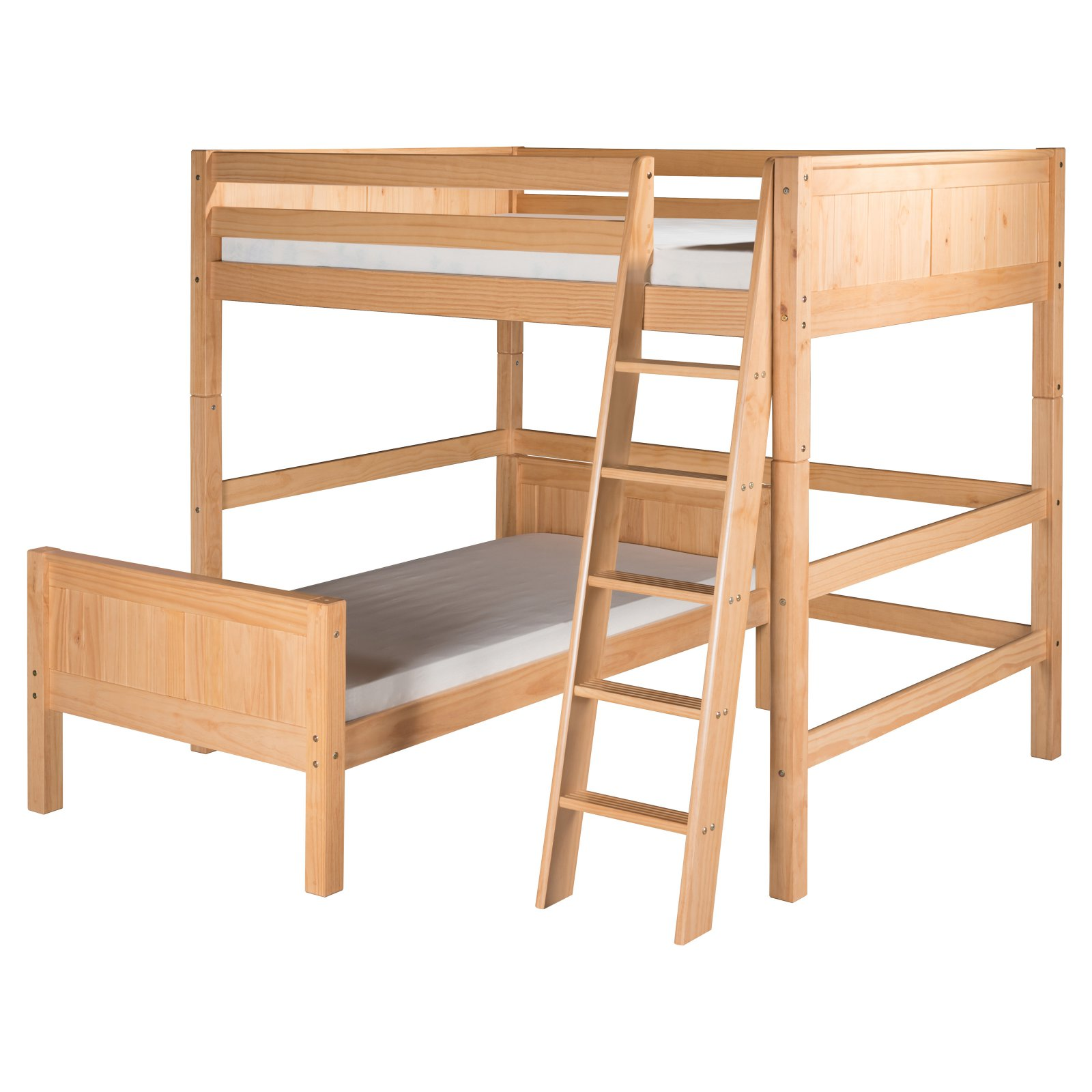 Camaflexi Full Over Twin Loft Bed - L Shape - Panel Headboard - Multiple Finishes