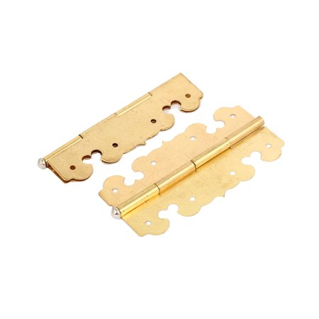 Uxcell Drawer Cabinet Door Metal Rotatable  Hinges Gold Tone 2.7
