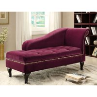 Furniture of America Demetria Tufted Storage Chaise Lounge in Red