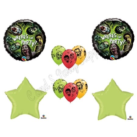 Scary Halloween Balloons (Zombies Party The Walking Dead Zone Halloween Balloons Decorations)